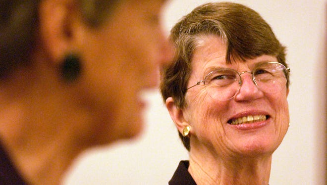 Former U.S. Attorney General Janet Reno (right) laughs with her sister Maggy Hurchalla during a luncheon sponsored by the Martin County Literacy Council on Jan. 28, 2005 at the Hutchinson Island Marriott  in Stuart.