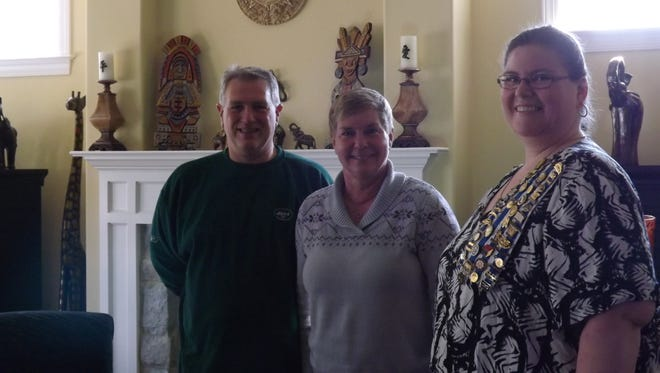 From left, Lynn Otto, Kim Otto and Cornwall Iron Furnace DAR Regent Dr. Heather Waddell at the group's November meeting. Lynn Otto's presentation focused on American Indians in the Susquehanna prior to the American Revolution.