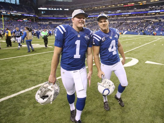 Some advice from Vinatieri (right) has McAfee off to
