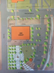 Current plans for a new library in Mesquite consist of a building across the street from the old library, and a landscaped area featuring an amphitheater.
