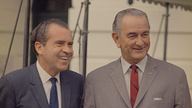 Presidents Nixon, left, and Johnson in 1968.