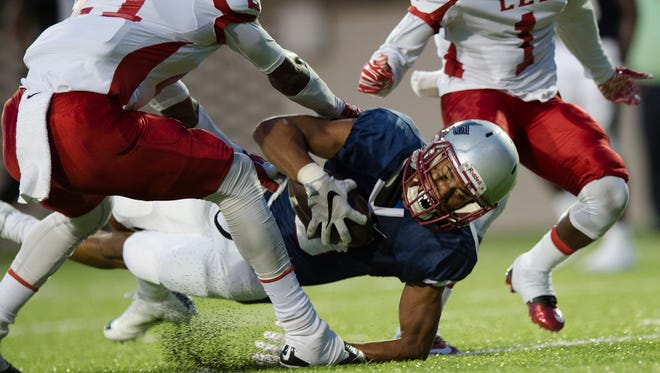 Park Crossing's Doron Mitchell (8) scores a touchdown during the AHSAA game on Thursday, Aug. 25, 2016, at the Crampon Bowl in Montgomery, Ala.