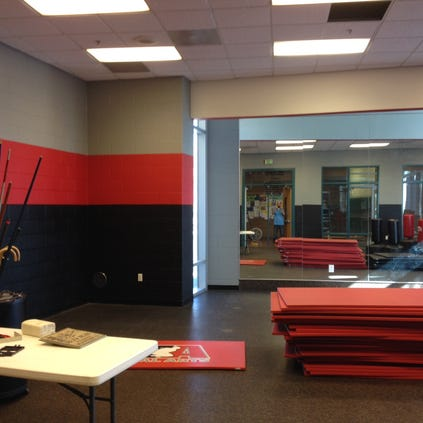 The marital arts room got a paint job during the annual maintenance.