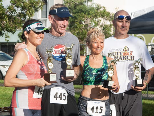 Overall Mutt March 5K female and male winners, from