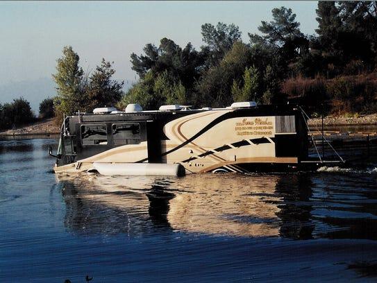The Terra Wind amphibious recreational vehicle cruises