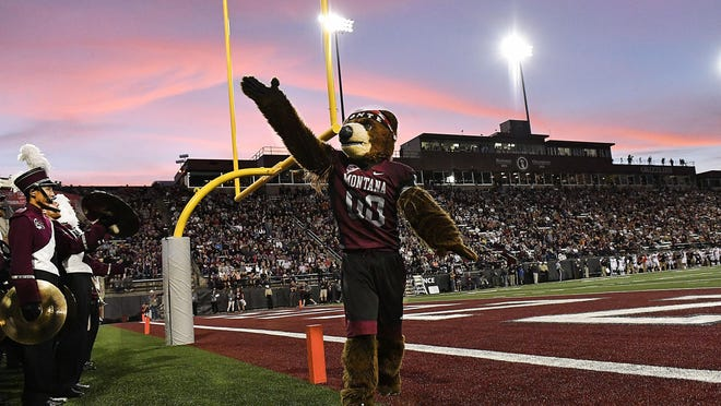 "The University of Montana mascot ""Monte"" at Washington-Grizzly Stadium in Missoula."