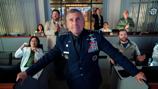 "Steve Carell in a scene from the Netflix comedy series ""Space Force."""