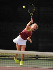 Northside's Jobee White serves the ball during the Class 1A girls singles state championship match against Menard's Claudia Jiminez-Garcia at the UIL State Tennis Championships on Thursday, May 18, 2017, at the George P. Mitchell Tennis Center in College Station. White won the match 7-6(2), 6-1.