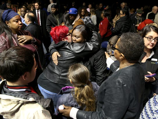 Carrie Houston, mother of Trevyan Rowe, was embraced