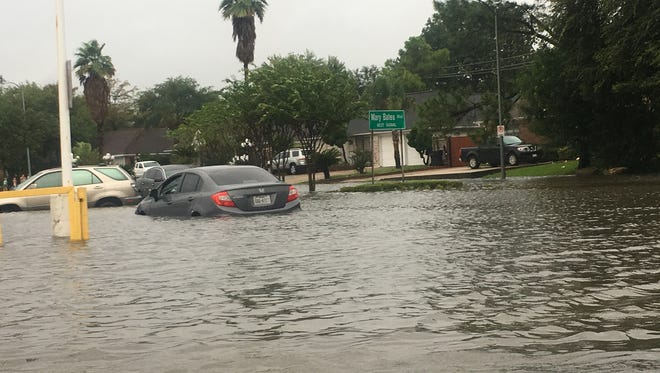 To alleviate some flooding in Houston, the U.S. Army Corps of Engineers released water from the Barker and Addicks reservoirs Monday, Aug. 28, 2017. Here, flooding in Houston on Sunday, Aug. 27, 2017.