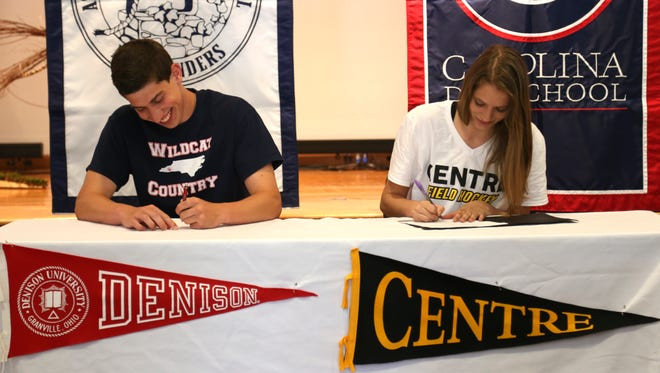Carolina Day seniors David Jaben and Peyton Baer signed to play college sports on Friday.
