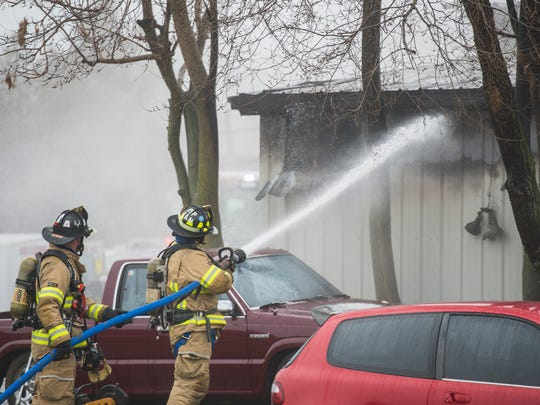 Fire crews responded to a two-alarm fire at 1610 North Seventh St. in North Lebanon Township on Saturday, Jan. 21, 2017.