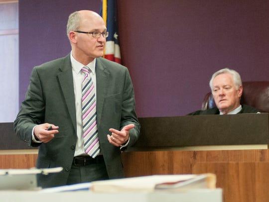 Defense lawyer Frederick Lepley speaks during a case
