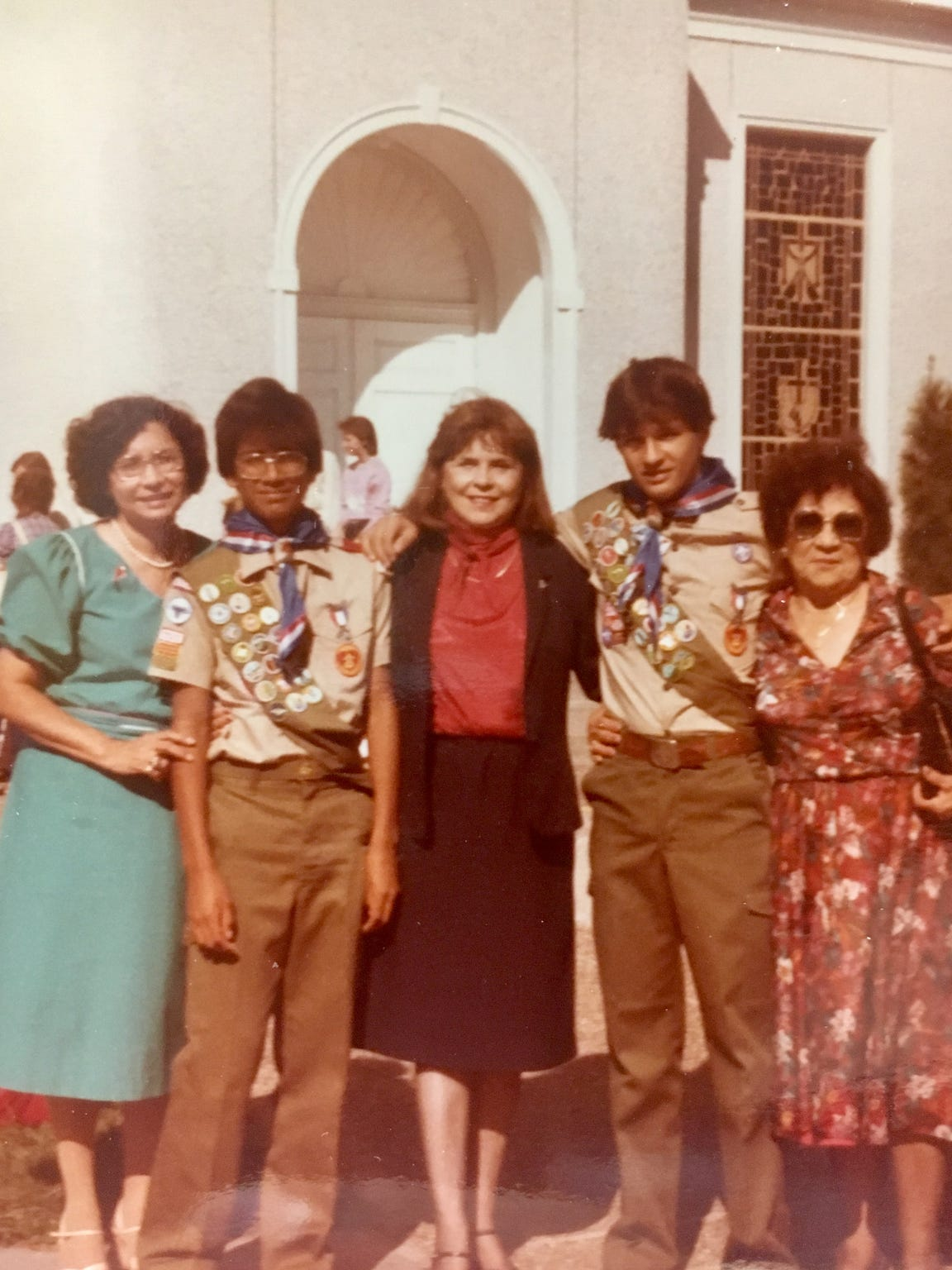 David Morales (second from left) is pictured in his Eagle Scout uniform after a Mass at St. John's Catholic Church in Robstown in August 1983. Pictured at left (in the blue dress) is David's mother, Maria Eudelia Morales, who passed away last year.