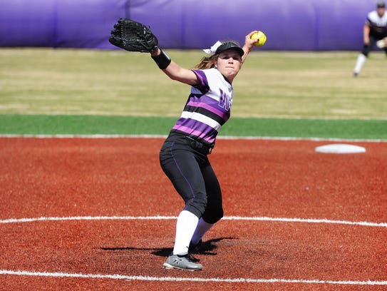 Wylie pitcher Kaylee Philipp (3) goes through her motion