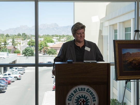 Carrie Hamblen, CEO and president of the Las Cruces Green Chamber of Commerce, introduces the mayors of Las Cruces, Mesilla and Anthony, at the the start of a news conference announcing the results of a poll showing residents of the three communities support the Organ Mountains-Desert Peaks National Monument, Tuesday, June 13, 2017.