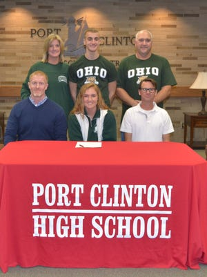Port Clinton senior Rachel Simpson signed her National Letter of Intent on Wednesday to continue he track career at Ohio University. She is joined by Redskins assistant coach Phil Fought, mother Jennifer Simpson, brother Dylan Simpson, father Dow Simpson and Port Clinton coach Seth Benner.