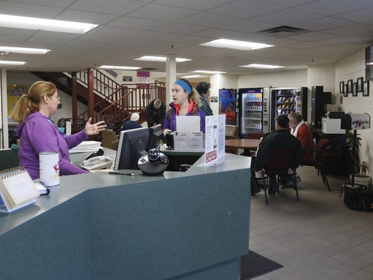 The YMCA lobby is a popular spot for the community,