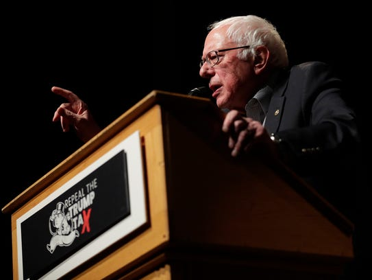 Sen. Bernie Sanders,I-Vermont, speaks at the Weidner Center on the UW-Green Bay campus on Saturday. The event was part of a the 'Repeal The Trump Tax' tour.