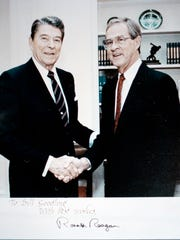 Bill Goodling, right with Ronald Reagan