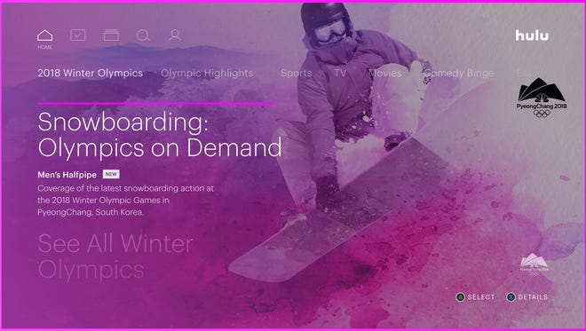 This screen shot from live TV streaming service Hulu shows its Olympics content for Snowboarding.