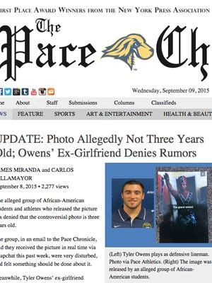 """The Pace Chronicle website carries a Snapchat photo of football captain Tyler Owens draped in a confederate flag making a Nazi salute, under the caption """"The grand wizard."""" Owens has been stripped of his captaincy and will not take part in football pending a university investigation, Pace President Steven J. Friedman said."""