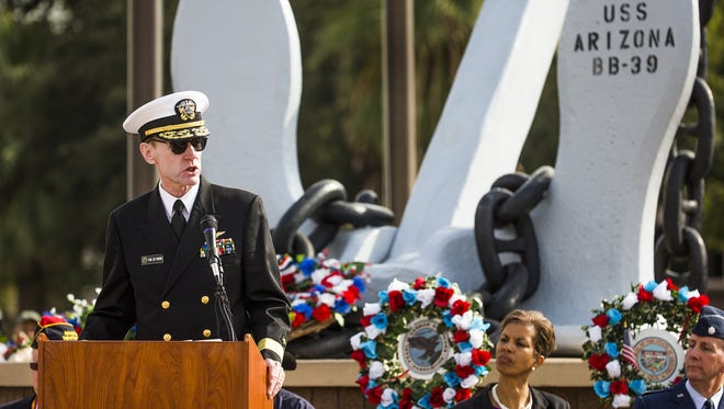 Retired Rear Adm. James Symonds addresses the crowd at the Pearl Harbor Remembrance Day commemoration at Wesley Bolin Memorial Plaza in Phoenix on Dec. 7 2016. The event marked the 75th anniversary of the aerial attack from Japan on American ships docked in Hawaii.