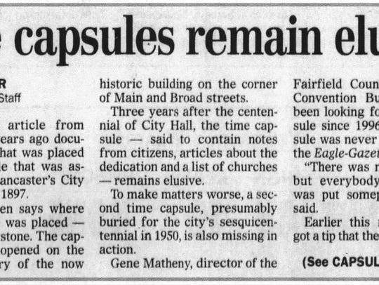 An article pertaining to a local time capsule.