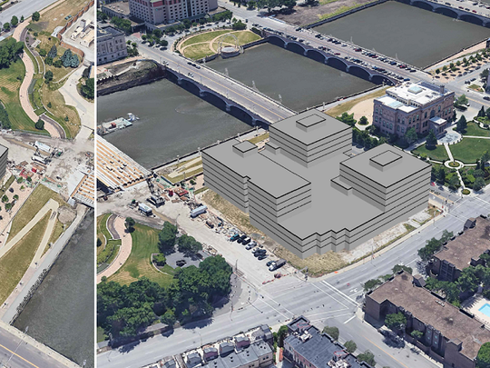 An aerial site plan of Hubbell Realty Co.'s $75 million, 115-unit condominium plan for the former Riverfront YMCA site.