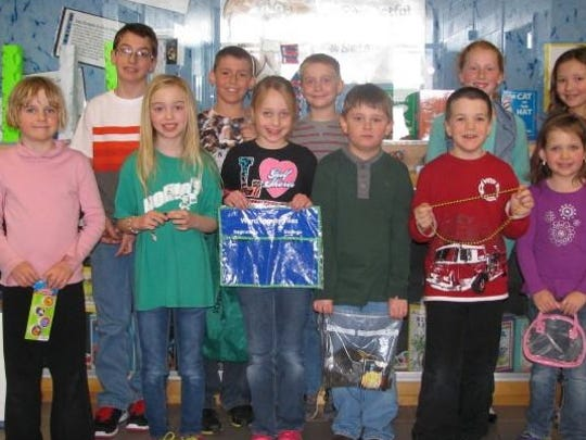 Maine Elementary School Students from Maine Elementary School were named as Lion Loot winners for the week of March 28. They are Eva J., front row, from left, Rosalee H., Brooke O., Braxtin B., Lucas L. and Taylor D.; and Wesley S., back row, Cole O., Zach W., Selena S. and Brooklyn H.