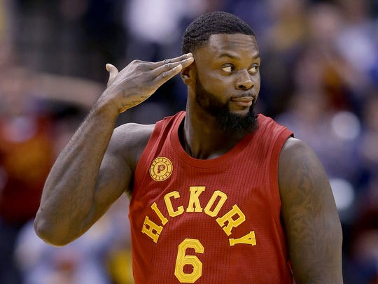 Indiana Pacers guard Lance Stephenson (6) celebrates