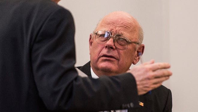 Former Vermont State Sen. Norm McAllister is questioned by Franklin County Deputy State's Attorney John Lavoie during a Vermont Superior Court hearing Friday, Feb. 3, 2017, in St. Albans. McAllister is trying to withdraw his January 'no contest' plea, saying he felt forced into the deal and didn't understand the terms.