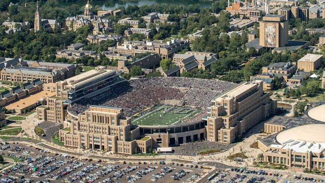 An aerial view of Notre Dame Stadium before the game between the Notre Dame Fighting Irish and the Temple Owls.