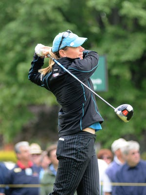 Annika Sorenstam drives off the first tee during the first round of the Sybase Classic in 2008. Sorenstam will return to play in a celebrity event and is being honored at the Memorial Tournament this year.