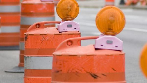 Orange barrels on a roads project.