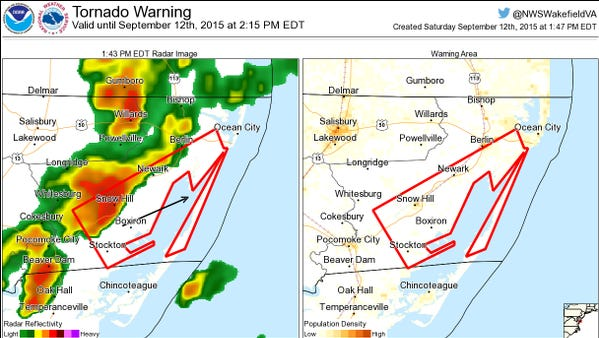 The National Weather Service has issued a tornado warning for Worcester County.