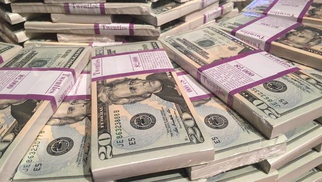 Stacks of $20 bills.
