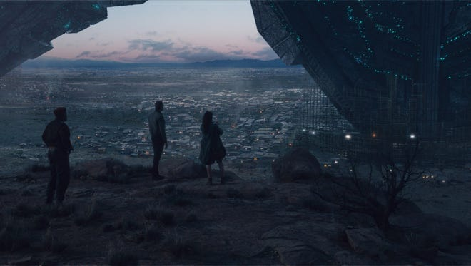 """Scientists survey the wreckage of a downed alien ship in """"Independence Day: Resurgence."""""""