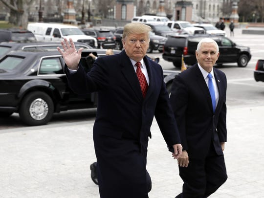 President Donald Trump arrives with Vice President