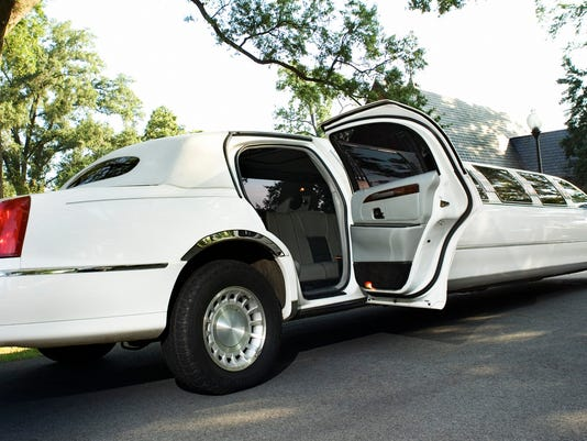 Limousine with open door