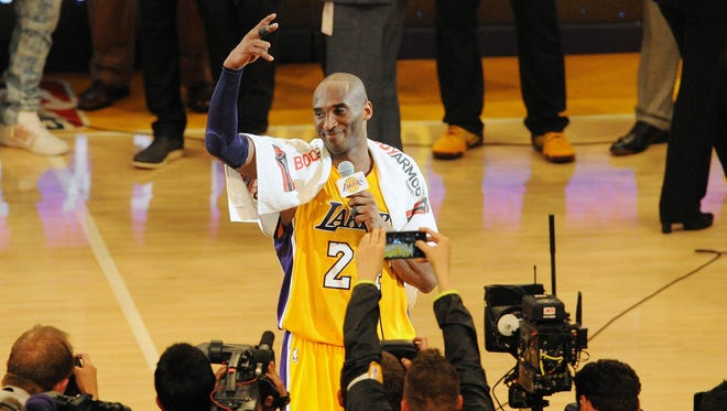 Kobe Bryant addresses the crowd after his final career game.