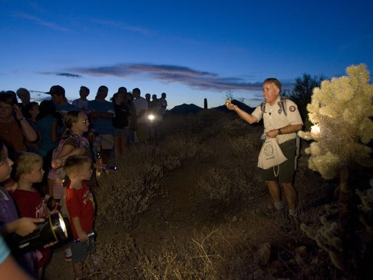 Wear closed-toed shoes and bring plenty of water, but leave your dogs at home on the red moon hike at Usery Mountain Regional Park.