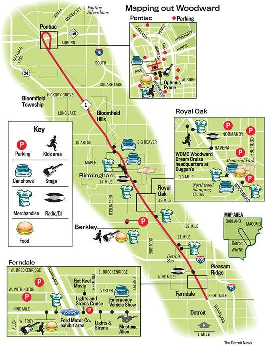 Woodward Dream Cruise Map Map: Woodward Dream Cruise locations