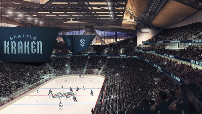This artists' rendering released Thursday by the Seattle Kraken, shows the NHL hockey team's new logo, left, and name, displayed in what would be their finished arena.