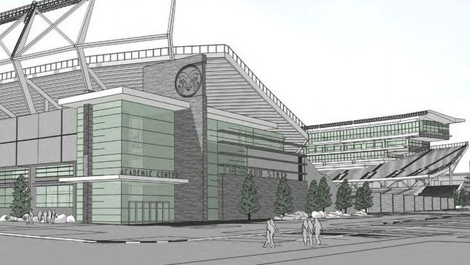 An artist's rendering of what the proposed on-campus stadium might look like.
