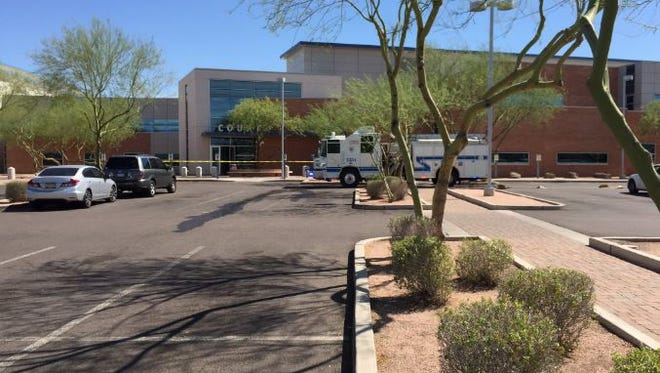 Four people were taken to hospitals after an odor forced the evacuation of Gilbert Municipal Court on July 20, 2016. Fire officials determined the odor resulted from a burned-out component in a water fountain.