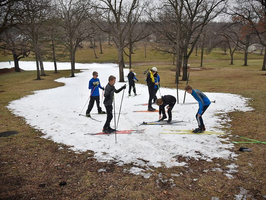 Cathedral/Sartell Nordic Ski Team members get ready