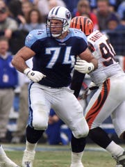 Tennessee Titans offensive lineman Bruce Matthews (74) plays against the Cincinnati Bengals in this Dec. 10, 2000 file photo, in Nashville, Tenn. Matthews played every position on the offensive line for Houston/Tennessee from 1983-2001.
