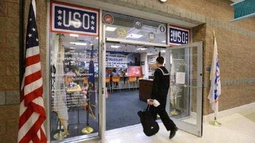 Young troops from the Gulf Coast gather at the USO inside the Pensacola International Airpport last year as many of them head home for the holidays.