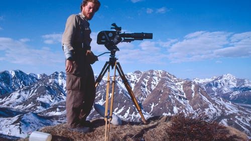 Kevin Peer, here on location at Denali National Park, has produced films for National Geographic and the National Parks Service.